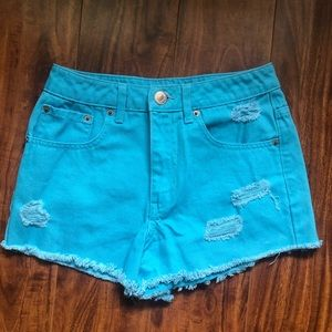 forever 21 blue high-rise shorts